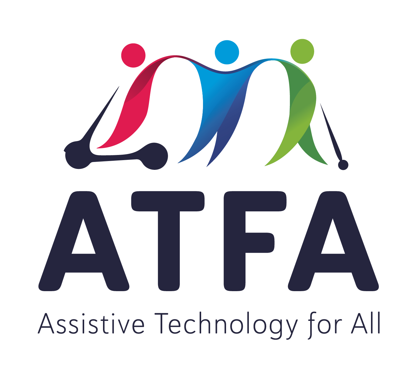 Assistive Technology for All, or ATFA, logo. Three interconnected figures, one using a mobility scooter and one using a cane., with ATFA written below.