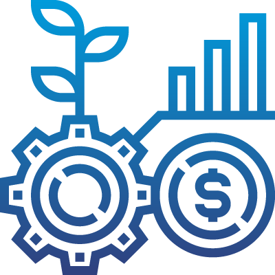 An icon of money and cogs, representing the economy.