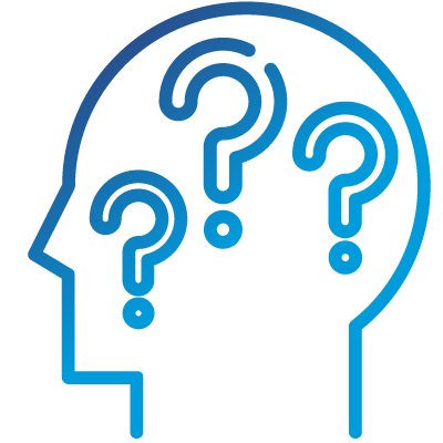 An icon of a human head filled with question marks.
